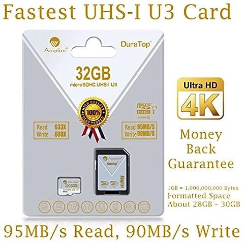 32GB Micro SDHC U3 Card Plus SD Adapter Pack. Amplim Extreme Pro Class 10 UHS-I MicroSDHC 95MB/s Read, 90MB/s Write. Ultra High Speed HD UHD 4K Video. Internal/External MicroSD Flash Memory (Ultra Micro Sdhc)