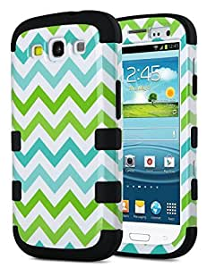 Galaxy S3 Case, S3 Case - ULAK [ Shock Resistant Series ] Hybrid Rubber Case Cover for Samsung Galaxy S3 III i9300 3in1 Hard Plastic +Soft Silicone (Wave-Black Silicone)