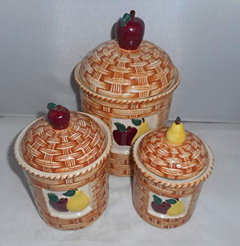 Apple Pear Fruit Ceramic Woven Basket Style 3 Piece Kitchen Canister Set (Pear Kitchen Canister)