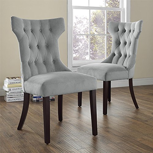 Dorel Living Clairborne Tufted Upholestered Dining Chair, Gray, Set of 2 (Espresso Living Room Chair compare prices)