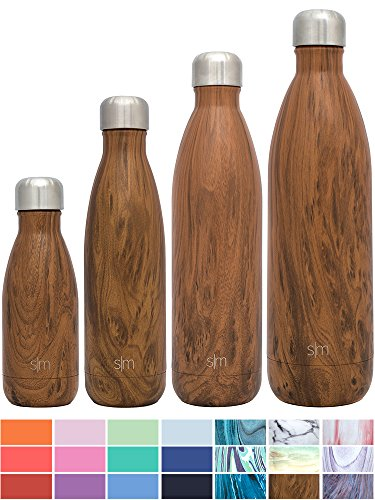 Simple Modern 17 oz Wave Water Bottle - Vacuum Insulated Double Wall Reusable Accessory 18/8 Stainless Steel brown Hydro Swell Leak Proof Flask - Wood Grain