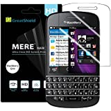 GreatShield (3 Pack) MERE Mark II Ultra Clear (HD) Hard Coating Screen Protector Film [Anti-Fingerprint | 3H Hardness] with Microfiber Cloth for BlackBerry Q10 - Lifetime Warranty