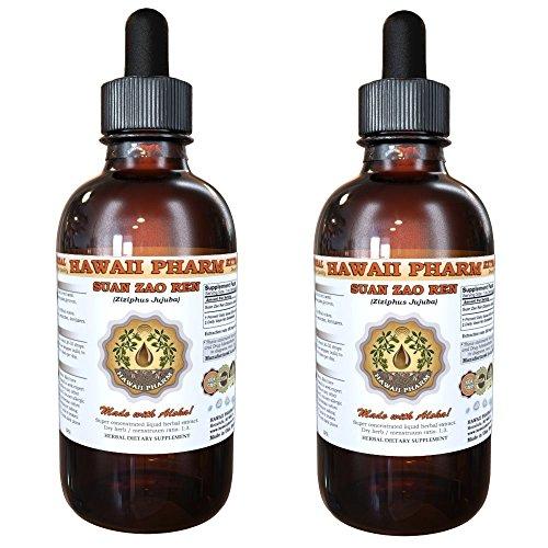 Suan Zao Ren (Ziziphus Jujuba) Tincture, Organic Dried Seeds Liquid Extract, Chinese Date, Herbal Supplement 2x4 oz by HawaiiPharm