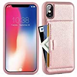 iphone X Wallet Case, iphone X Case with Card Holder, ZVE Apple iphone X Wallet Case with Credit Card Holder Slim Leather Shockproof Protective Case For Apple iPhone X 5.8 inch 2017(Rose Gold)