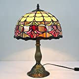Tiffany style reading table beside lamp light 18 inch tall Tulip Flower stained glass shade E26