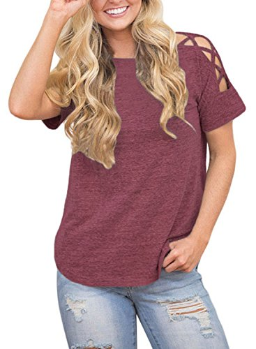 Astylish Women Sexy Cold Shoulder Cut Out Blouse Casual T Shirt Tops Red Large
