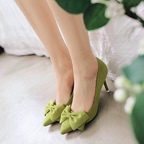 Tie con con a otto pattini centimetri fine donna raso alto di verde cingolo bassa del con filtro 39 e scarpe Il tacco versatile 5cm scarpe Bow i ETvvwq
