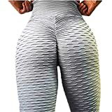 NUWFOR Women Fashion Casual Sports Yoga Workout Gym Fitness Exercise Athletic Pants(Gray,M US Waist:25.2-29.1'')