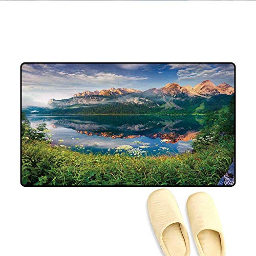 Door Mats,Sunny Summer Morning on Lake Austrian Alps Crystal Mirroring Water Fairy Season,Bath Mats for Bathroom,Multicolor,Size:16