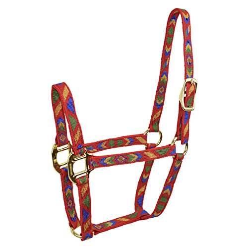 "Hamilton Nylon Quality Foal/Mini Horse Halter for 100 to 200 lb Horse, 3/4"", Navajo Pattern Red"