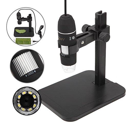 JZHY 20x-800x Mikroskop Vergr??erung USB-Mikroskop 8-LED-Digital-Endoskop mit St?nder (mit OTG Kabel f¨¹r Android Phone)