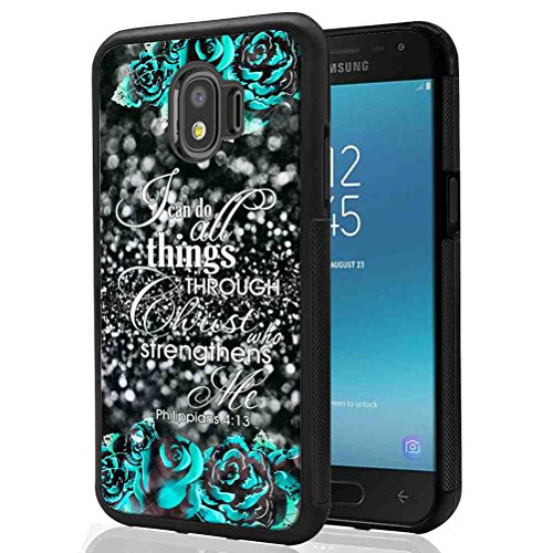 Samsung Galaxy J2 Pro 2018 Glitter Case, SuperbBeast I Can Do All Things Through Christ Who Strengthens Me TPU Bumper Case for Samsung Galaxy J2 Pro 2018