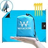 WELKOOM Beach Blanket Sand Free, Waterproof Lightweight Pocket Blankets 55''× 79'', Outdoor Mini Package Compact Picnic Mat for Hiking, Camping, Traveling, Packable & Durable, Quick Dry
