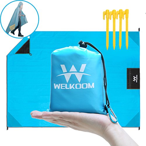 WELKOOM Beach Blanket Sand Free, Waterproof Lightweight Pocket Blankets 55''× 79'', Outdoor Mini Package Compact Picnic Mat for Hiking, Camping, Traveling, Packable & Durable, Quick Dry by WELKOOM