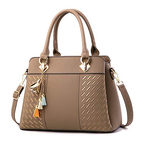 Women's Tote Shoulder Bag from Dreubea, Retro Purse Leather Satchel Handbag Khaki (Retro Tote Leather)