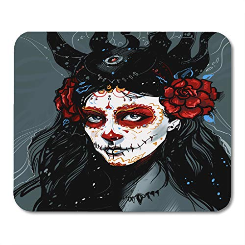 Emvency Mouse Pads Blue Calavera Muerte Red Girl Catrina Face Skull Flower Mouse pad 9.5