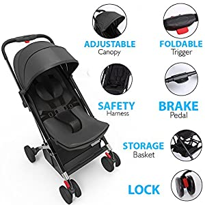Upgraded Portable Lightweight Travel Stroller - Easy 1 Hand Foldable Compact Stroller, Adjustable Reclining Seat, World's Smallest Stroller to Fit in Small Cars Between The Seats by Jovial (Black) by Sound Around that we recomend individually.