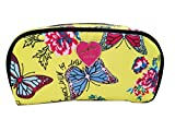 Betsey Johnson Cosmetic Makeup Bag (YELLOW BUTTERFLY ROSE)