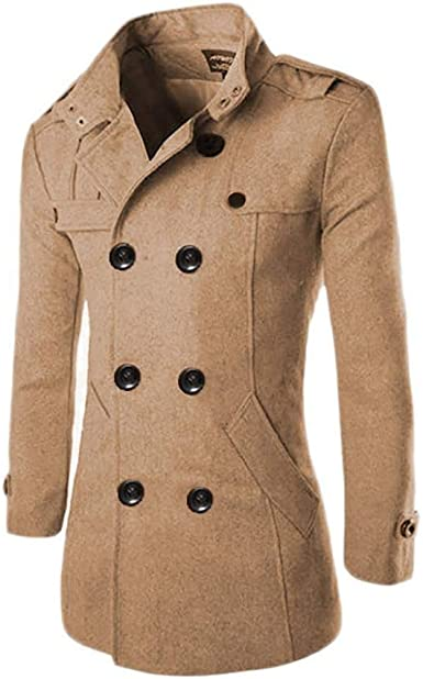NestYu Mens Notched Collar Fleece Button Relaxed Trench Coat Jacket Clothes