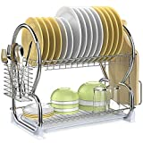 Dish Drying Rack, Veckle 2 Tier Dish Rack Stainless Steel Dish Drainer Utensil Holder, Cutting Board Holder with Removable Drain Board for Kitchen Countertop, Silver
