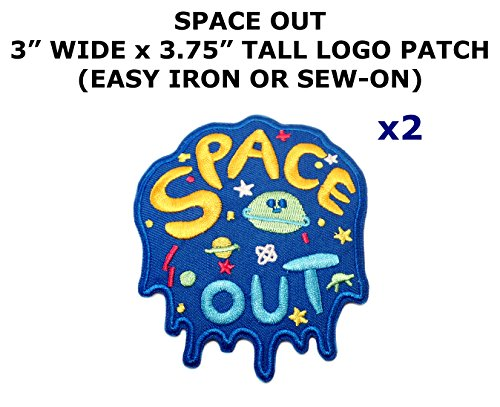 2 PCS Space Out UFO Aliens Theme DIY Iron / Sew-on Decorative Applique Patches