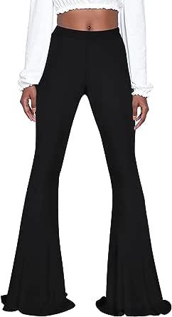 Pink Wind Women's Bell Bottom Pants High Waist Flare Boho Print Maxi Trousers