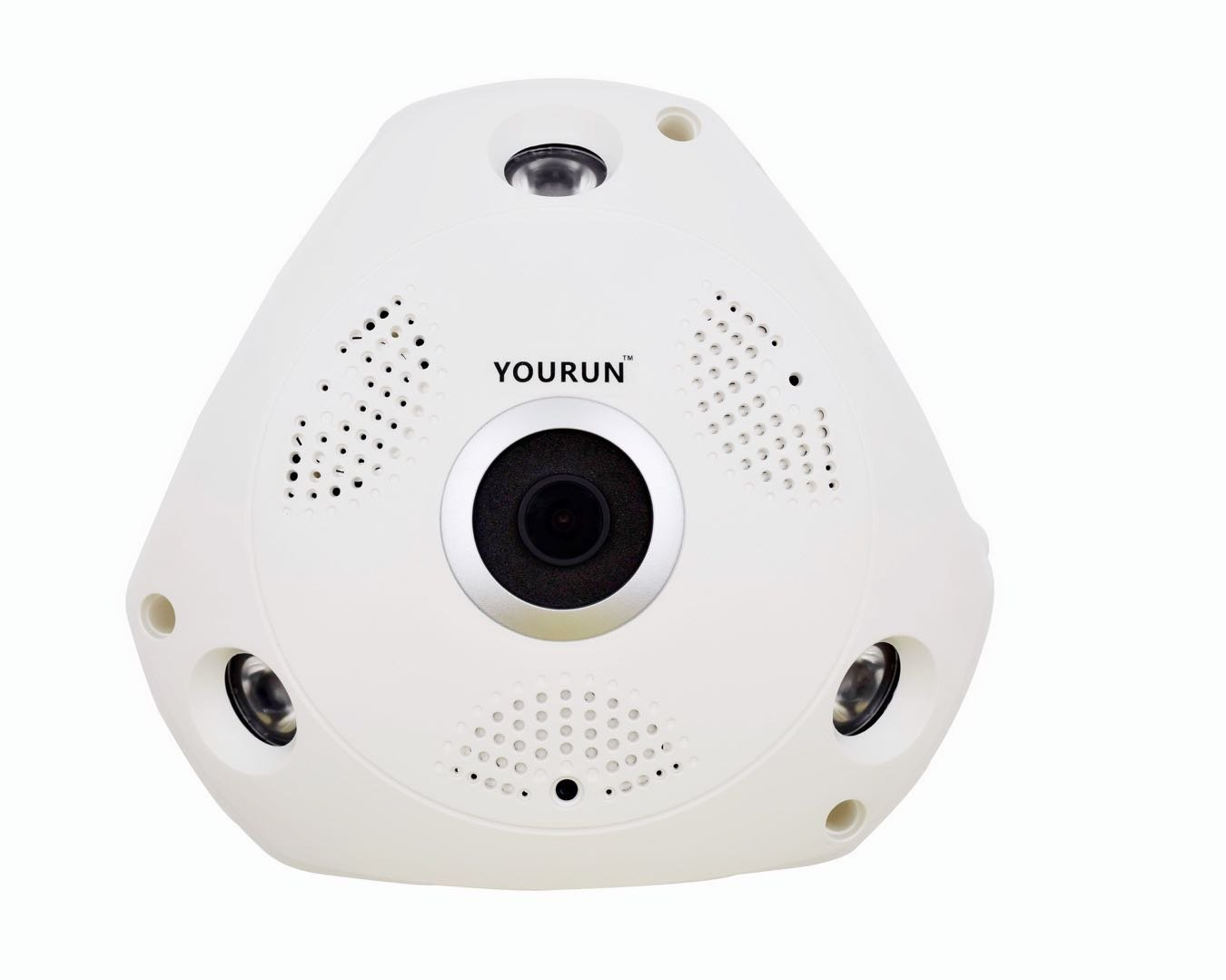 YOURUN 3D Panoramic Camera With 1.3Megapixel/960P/Wifi Connection/Cloud Service/Fisheye Lens/Support Micro SD Card/3W(Max)/DC 12V 1A/Work Between -10℃-50℃/IR Distance 5-10M/White