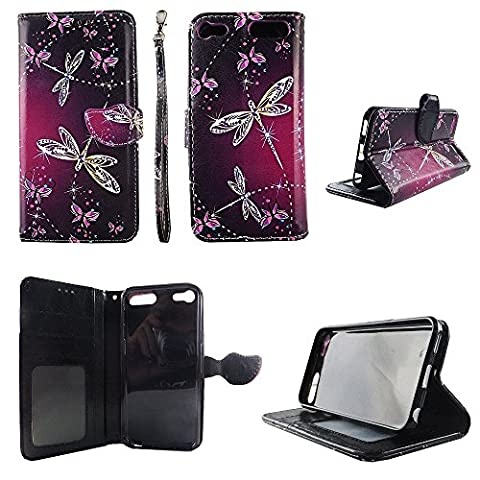 Sparkly Butterfly Wallet Folio Case for Ipod Touch 5 6 5th 6th Fashion Flip PU Leather Cover Card Cash Slots & (Sparkly Girls Ipod 4 Cases)