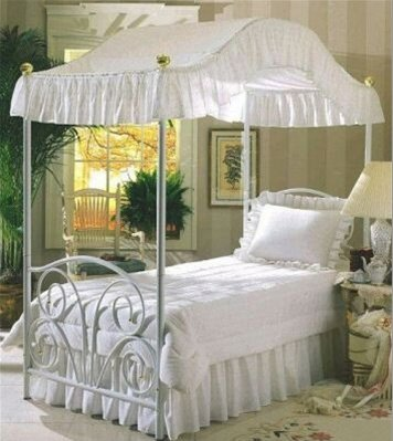 Twin Size Fantasy Eyelet White Canopy Top Fabric by The Furniture Cove