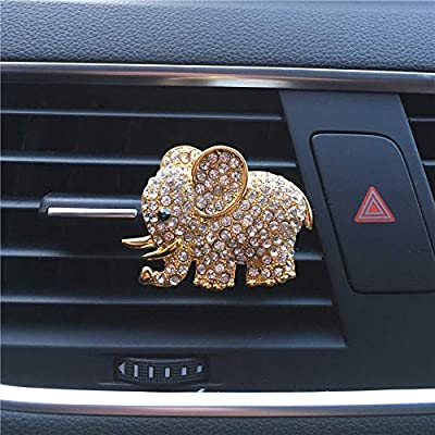 FOLCONROAD Auto Diamond Elephant Car Air Conditioning Outlet Clip Decorative (Full Gold)[US Warehouse] Christmas Gifts: Automotive
