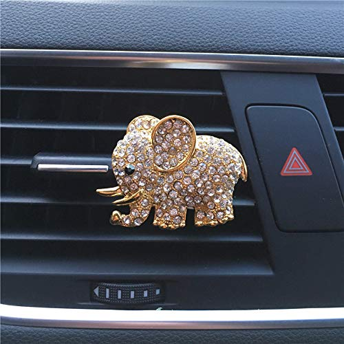 FOLCONROAD Auto Diamond Elephant Car Air Conditioning Outlet Clip Decorative (Full Gold)[US Warehouse] Christmas Gifts
