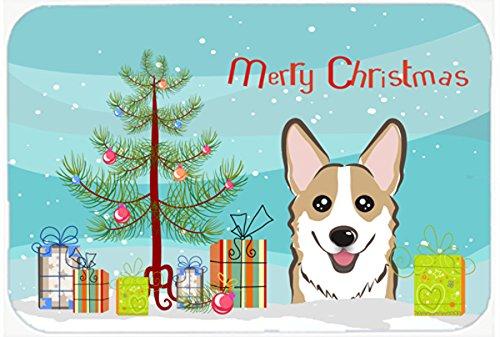 (Caroline's Treasures BB1625CMT Christmas Tree and Sable Corgi Kitchen or Bath Mat, 20 by 30