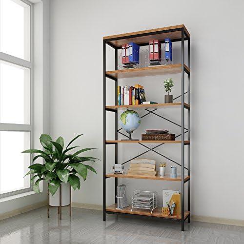 Kemanner 5-Tier Industrial Style Bookcase, Vintage Free Standing Bookshelf, Rustic Wood Bookcases Furniture Brown.