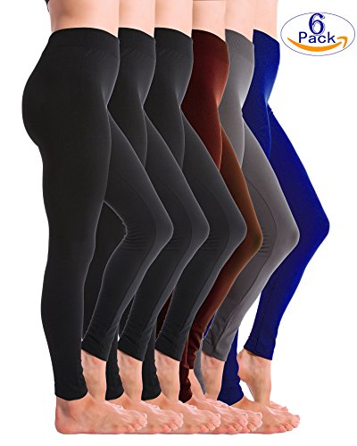 6-Pack Fleece Lined Thick Brushed Leggings Thights by Homma … (XL/XXL, Black x3, Charcoal, Royal, (Opaque Leggings)