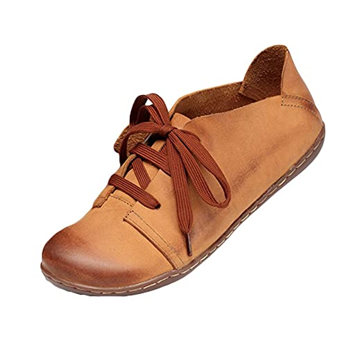 290c20a910452 Mordenmiss Women's Handmade Oxford Sneakers Lace Up Leather Flat Loafers