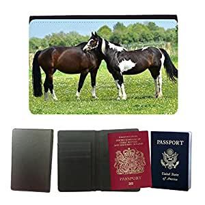 Hot Style PU Leather Travel Passport Wallet Case Cover // M00112600 Horse Pasture Coupling Meadow Nature // Universal passport leather cover