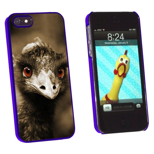 Graphics and More Funny Ostrich Bird - Snap-On Hard Protective Case for Apple iPhone 5/5s - Non-Retail Packaging - Blue