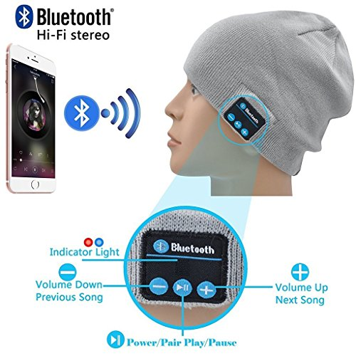 I-Sonite (Light Grey) Unisex One Size Winter Beanie Hat with Built-in Wireless Stereo Speaker Headphone for HomTom HT17 Pro ()