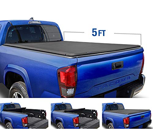 Tyger Auto T1 Roll Up Truck Tonneau Cover TG-BC1T9044 Works with 2016-2018 Toyota Tacoma | Fleetside 5' Bed | for Models with or Without The Deckrail System