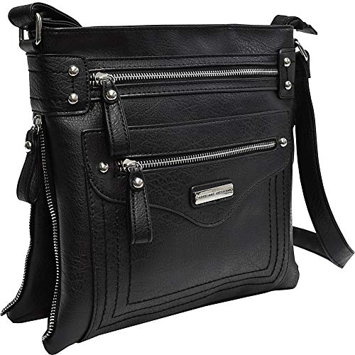Top Zip Crossbody Expandable Black Side Adrienne Zippers Vittadini with wqgBB4