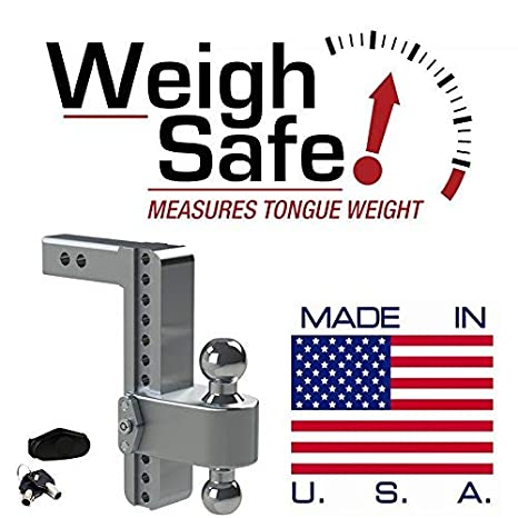 Weigh Safe LTB4-2 and a Double-pin Key Lock Adjustable Aluminum Trailer Hitch /& Ball Mount 2 /& 2-5//16 4 Drop 180 Hitch w// 2 Shank//Shaft Stainless Steel Combo Ball