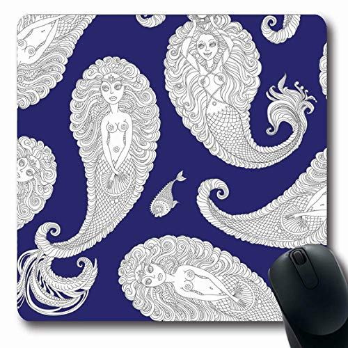LifeCO Computer Mousepad Monochrome Blue Album Nautical Paisley Pattern Silver Abstract Adult Coloring Book Page Design Oblong Shape 7.9 x 9.5 Inches Oblong Gaming Non-Slip Rubber Mouse Pad Mat ()