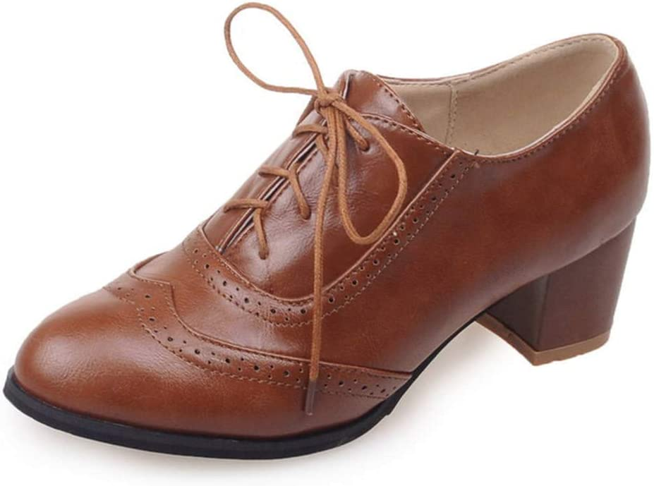 1920s Shoes UK – T-Bar, Oxfords, Flats Kaloosh Womens Fashion Lace Up Carving Block Heels Oxfords Daily Dress Retro Brogues Shoes £33.99 AT vintagedancer.com
