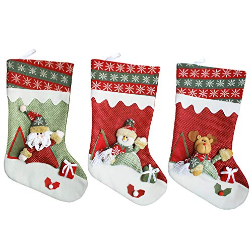 Aitey Christmas Stocking, Santa, Snowman, Reindeer, Xmas Character 3D Plush with Faux Fur Cuff Christmas Decorations and Party Accessory 3 Pack by Aitey