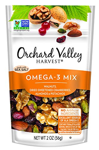 ORCHARD VALLEY HARVEST Omega-3 Mix, Non-GMO, No Artificial Ingredients, 2.0 oz (Pack of 14)