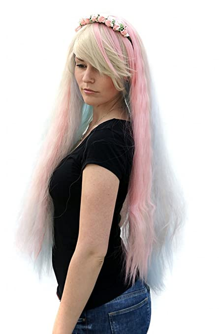 Prettyland C1460B - peluca arco iris de colores pastel 80cm Gulico trenzas rizadas onduladas