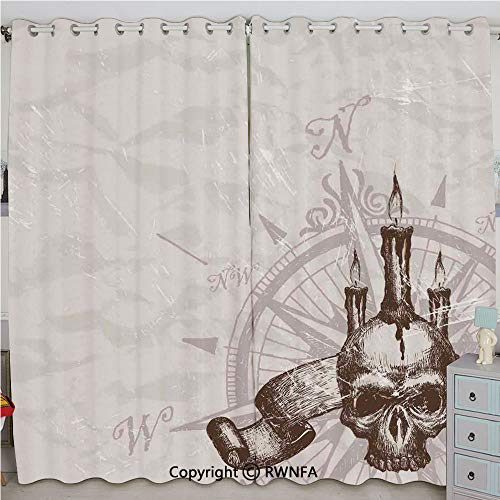 Justin Harve window Compass with Skull and Candles Spooky Adventure New Pirate Destinations Theme Grommet Top Blackout Curtains Set of 2 Panels(100