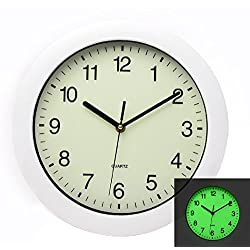 Maytime Luminous Easy to Read Silent Non Ticking Quartz Wall Clock Glow in Dark Wall Clocks 11 Inch White