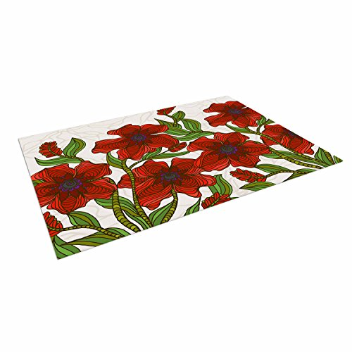 KESS InHouse Art Love Passion ''Poppy Field'' Red Beige Outdoor Floor Mat, 4' x 5' by Kess InHouse