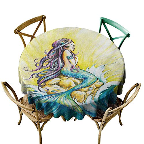 - Jbgzzm Elegant Waterproof Spillproof Polyester Fabric Table Cover Mermaid Magical Mermaid Sitting on Rock Sunny Day Colored Pencil Drawing Effect and Durable D47 Yellow Blue Purple